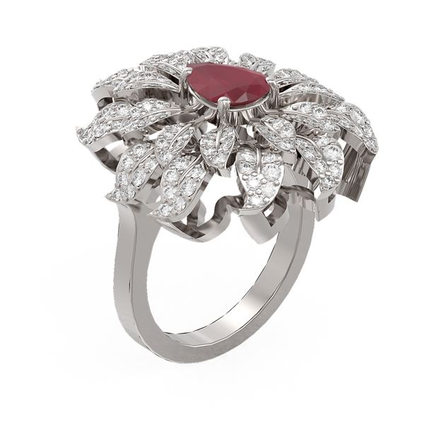 3.52 ctw Ruby & Diamond Ring 18K White Gold - REF-172W2H