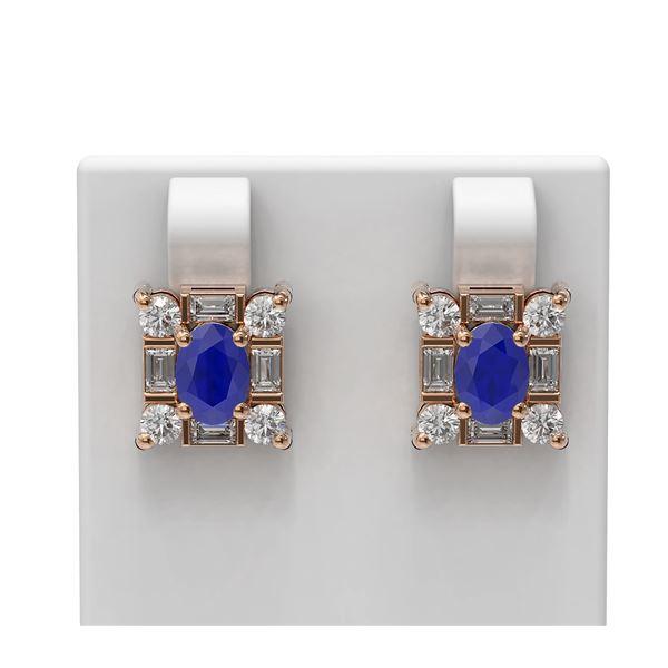 3.83 ctw Sapphire & Diamond Earrings 18K Rose Gold - REF-178N2F