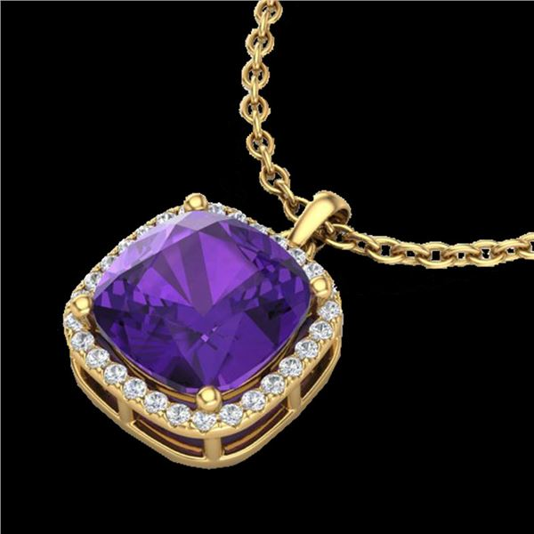 6 ctw Amethyst & Micro Pave VS/SI Diamond Necklace 18k Yellow Gold - REF-45N8F