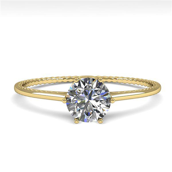 0.51 ctw Certified VS/SI Diamond Engagment Ring 18k Yellow Gold - REF-96F2M
