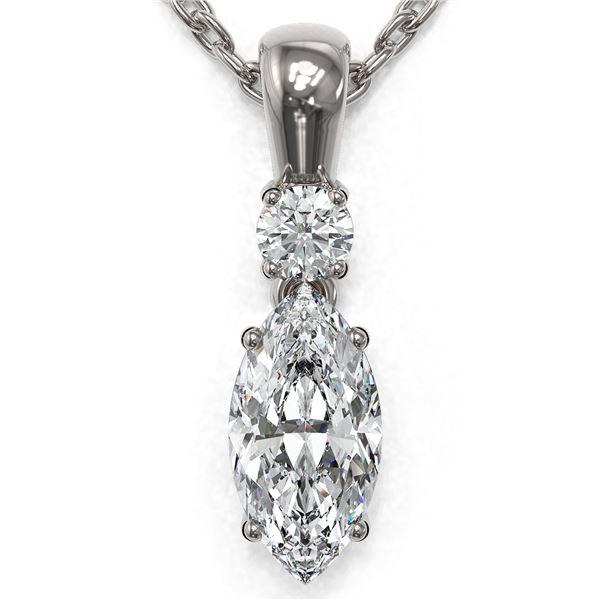 0.6 ctw Marquise Cut Diamond Designer Necklace 18K White Gold - REF-89H6R