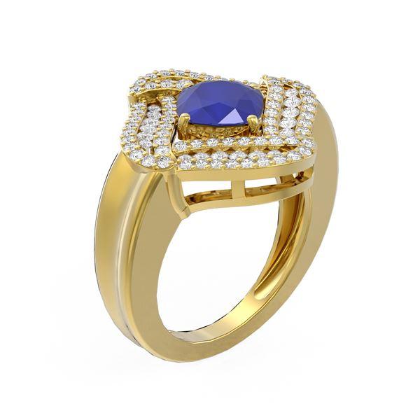 3.42 ctw Sapphire & Diamond Ring 18K Yellow Gold - REF-169H6R
