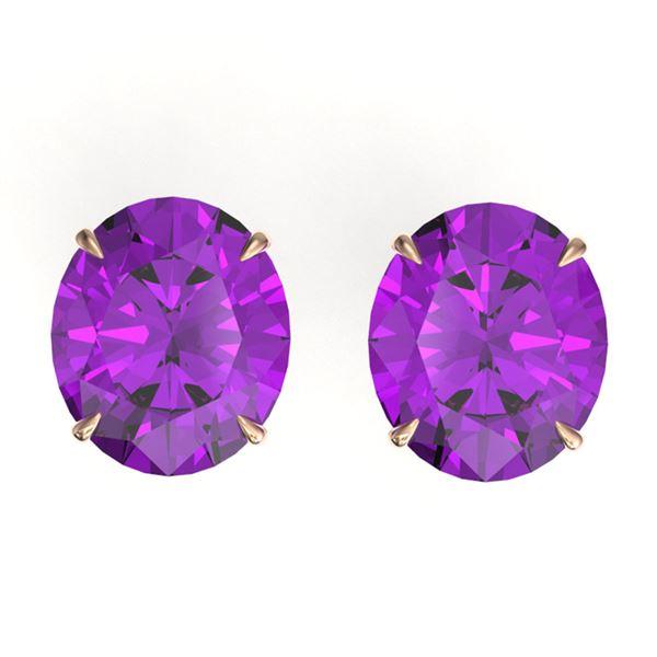 18 ctw Amethyst Designer Solitaire Stud Earrings 14k Rose Gold - REF-42M6G