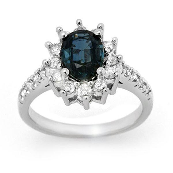 3.15 ctw Blue Sapphire & Diamond Ring 18k White Gold - REF-86F5M