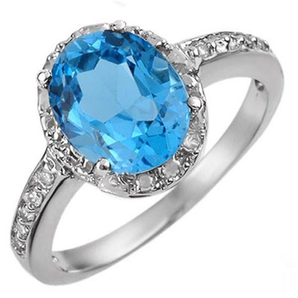 2.65 ctw Blue Topaz & Diamond Ring 10k White Gold - REF-15R8K