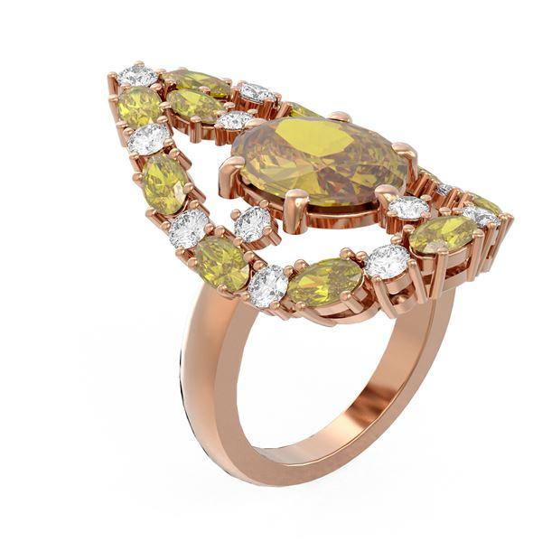 10.33 ctw Canary Citrine & Diamond Ring 18K Rose Gold - REF-227R3K