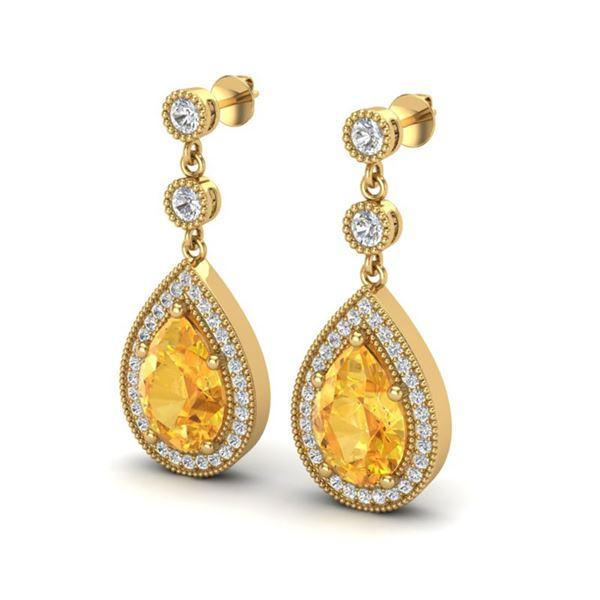 4.50 ctw Citrine & Micro VS/SI Diamond Earrings Designer 18k Yellow Gold - REF-52X3A