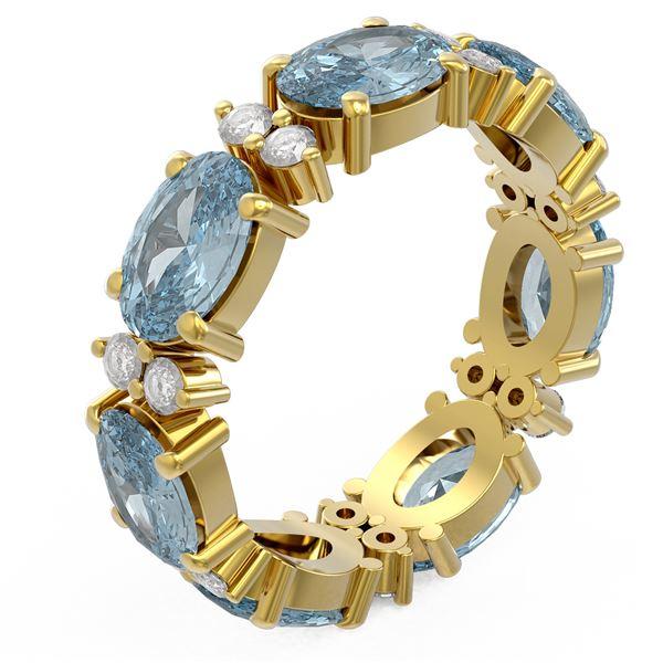 6.8 ctw Aquamarine Ring 18K Yellow Gold - REF-136R5K