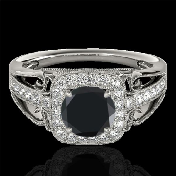 1.3 ctw Certified VS Black Diamond Solitaire Halo Ring 10k White Gold - REF-49Y8X