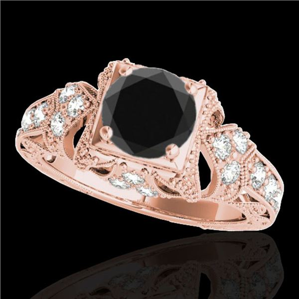 1.25 ctw Certified VS Black Diamond Solitaire Antique Ring 10k Rose Gold - REF-51N3F