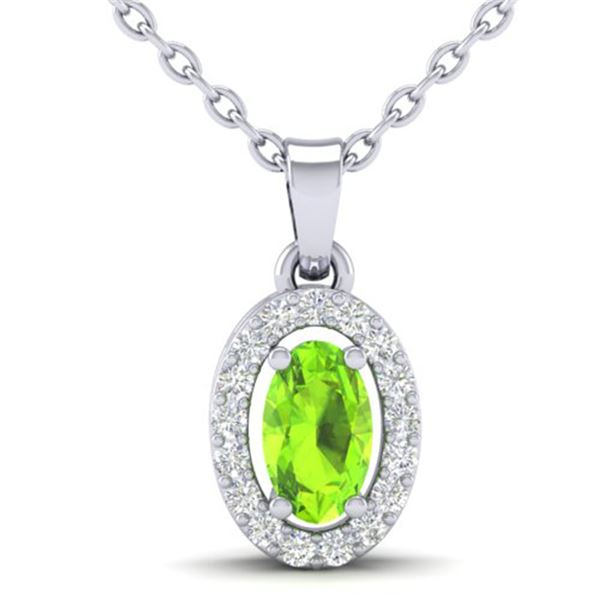 0.41 ctw Peridot & Micro Pave VS/SI Diamond Necklace 18k White Gold - REF-23N2F
