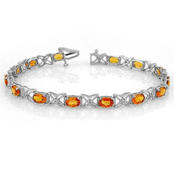 10.15 ctw Orange Sapphire & Diamond Bracelet 18k White Gold - REF-152R8K