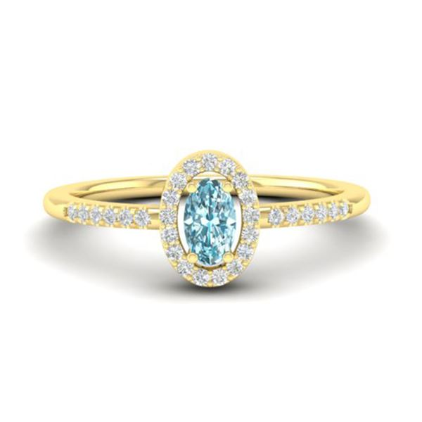 0.50 ctw TOPAZ & Micro Pave VS/SI Diamond Ring 18k Yellow Gold - REF-23X5A