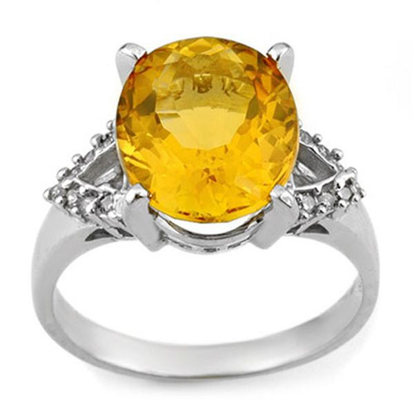 6.20 ctw Citrine & Diamond Ring 10k White Gold - REF-25F4M