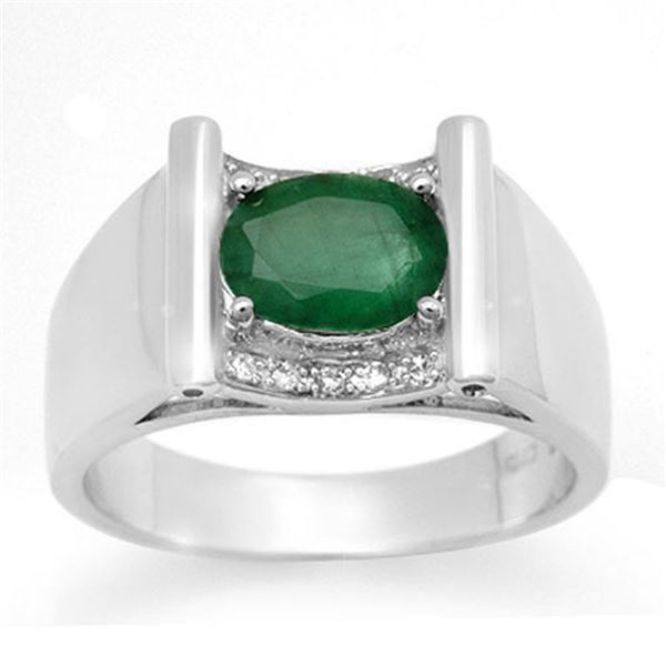 1.83 ctw Emerald & Diamond Men's Ring 10k White Gold - REF-46W5H