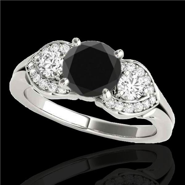 1.45 ctw Certified VS Black Diamond 3 Stone Ring 10k White Gold - REF-53W2H