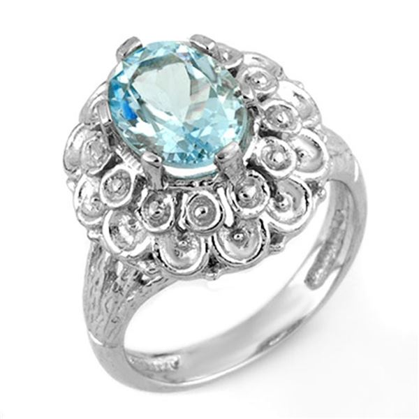 2.25 ctw Aquamarine Ring 10k White Gold - REF-27N3F
