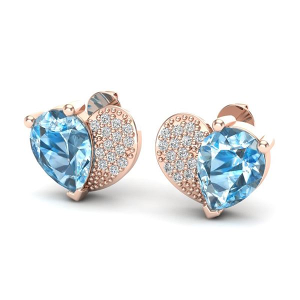 2.50 ctw Sky Blue Topaz & Micro Pave VS/SI Diamond Earrings 10k Rose Gold - REF-22M5G