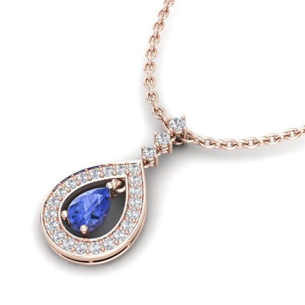 1.15 ctw Tanzanite & Micro Pave VS/SI Diamond Necklace 14k Rose Gold - REF-49W3H