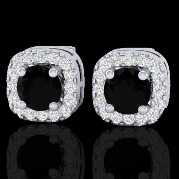 0.90 ctw Micro Pave Black & VS/SI Diamond Earrings 18k White Gold - REF-45K3Y