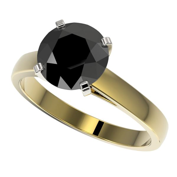 2.50 ctw Fancy Black Diamond Solitaire Engagment Ring 10k Yellow Gold - REF-45Y4X