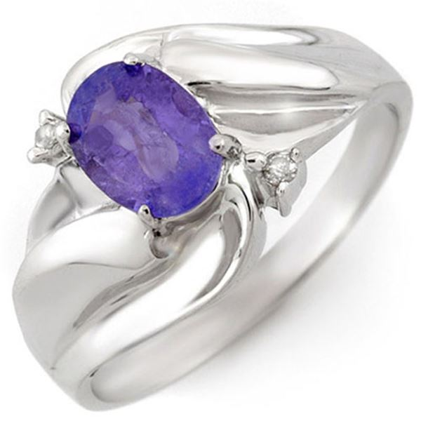 1.02 ctw Tanzanite & Diamond Ring 18k White Gold - REF-32F2M