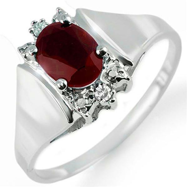 1.10 ctw Ruby & Diamond Ring 10k White Gold - REF-14N8F