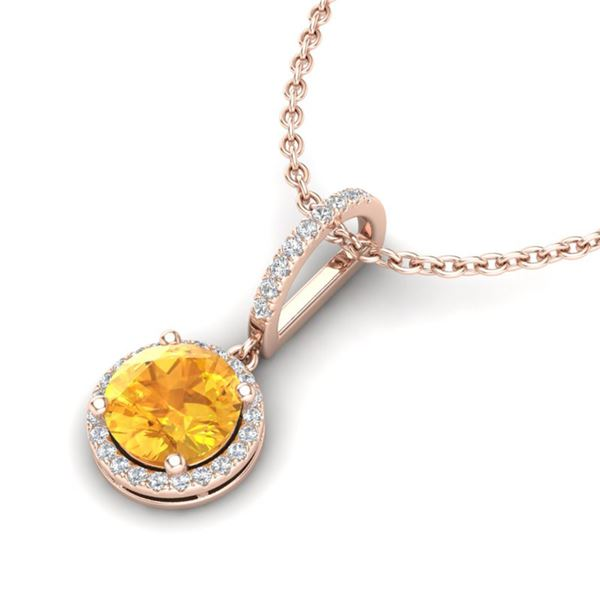 2 ctw Citrine & Micro Pave VS/SI Diamond Necklace 14k Rose Gold - REF-33N5F