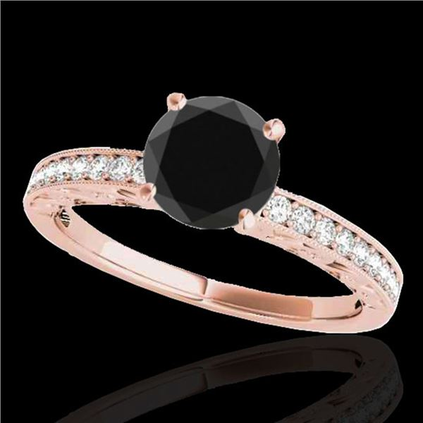 1.43 ctw Certified VS Black Diamond Solitaire Antique Ring 10k Rose Gold - REF-40W8H