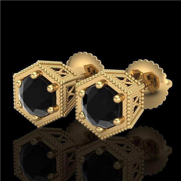 1.15 ctw Fancy Black Diamond Art Deco Stud Earrings 18k Yellow Gold - REF-52W8H
