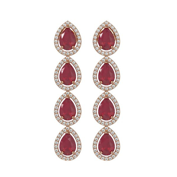 10.2 ctw Ruby & Diamond Micro Pave Halo Earrings 10k Rose Gold - REF-155K5Y