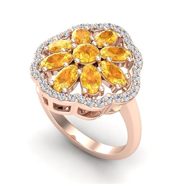 3 ctw Citrine & VS/SI Diamond Cluster Designer Ring 10k Rose Gold - REF-49W3H
