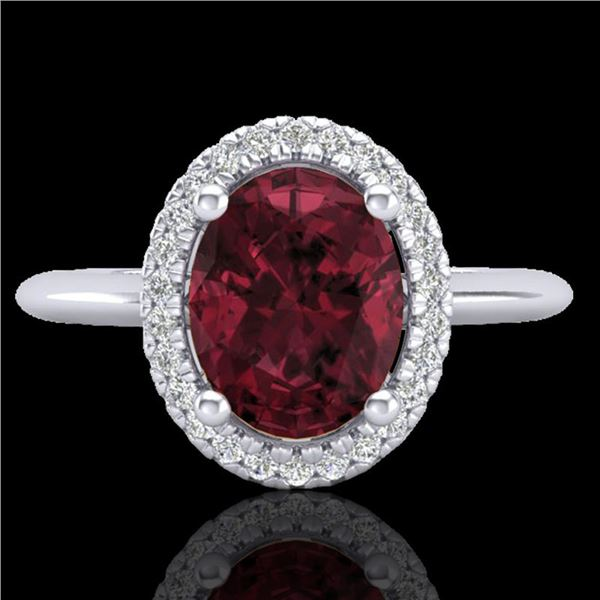 1.75 ctw Garnet & Micro Pave VS/SI Diamond Ring Halo 18k White Gold - REF-32M8G
