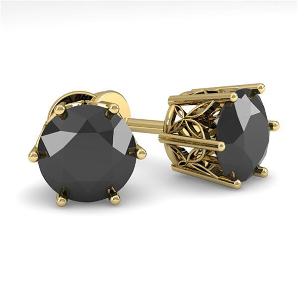 3.0 ctw Black Certified Diamond Stud Earrings 18k Yellow Gold - REF-90G2W