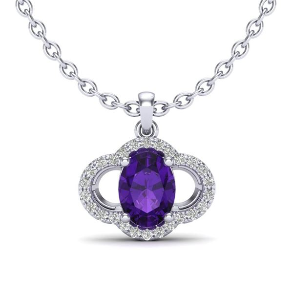 2 ctw Amethyst & Micro Pave VS/SI Diamond Necklace 10k White Gold - REF-22R2K