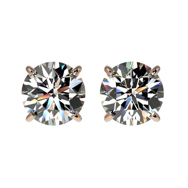 1.55 ctw Certified Quality Diamond Stud Earrings 10k Rose Gold - REF-127M5G