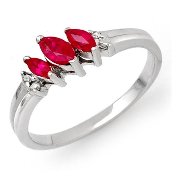 0.29 ctw Ruby & Diamond Ring 10k White Gold - REF-11F5M