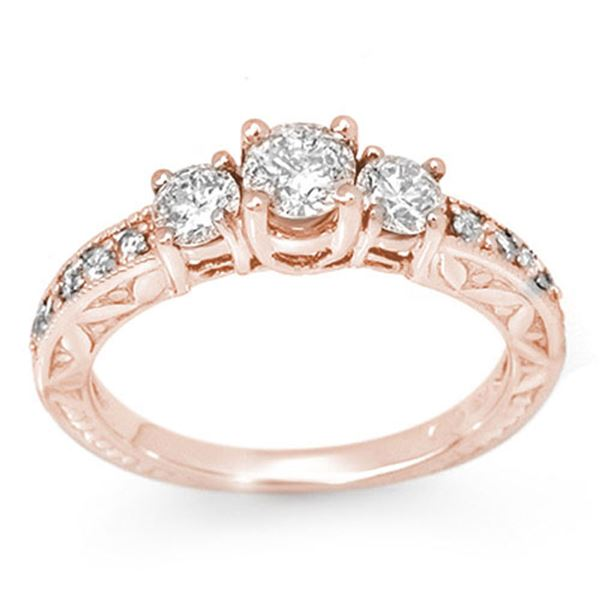 0.95 ctw Certified VS/SI Diamond Ring 14k Rose Gold - REF-129M5G