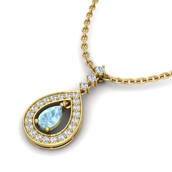 1.15 ctw Aquamarine & Micro Pave VS/SI Diamond Necklace 14k Yellow Gold - REF-47Y5X