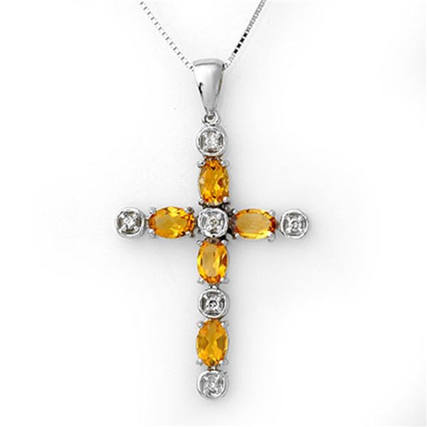 2.15 ctw Citrine & Diamond Necklace 10k White Gold - REF-25M2G