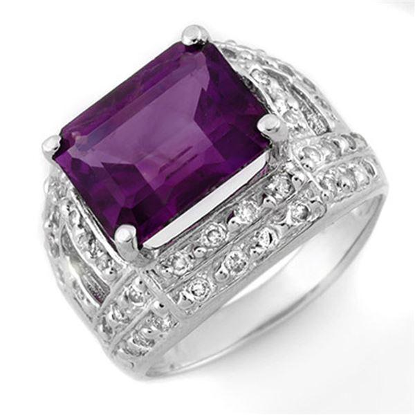 5.0 ctw Amethyst & Diamond Ring 14k White Gold - REF-54N8F