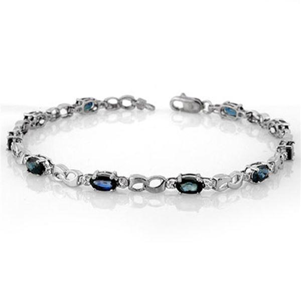 3.51 ctw Blue Sapphire & Diamond Bracelet 18k White Gold - REF-52F3M