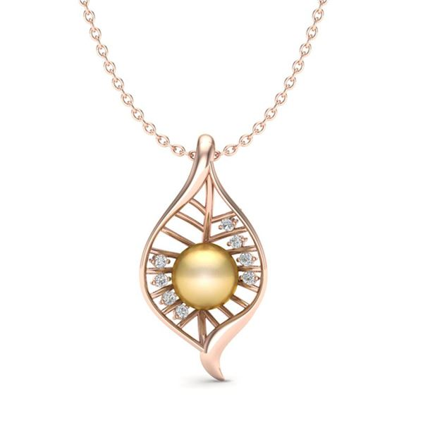 0.31 ctw VS/SI Diamond Certified Golden Pearl Necklace 14k Rose Gold - REF-40G2W