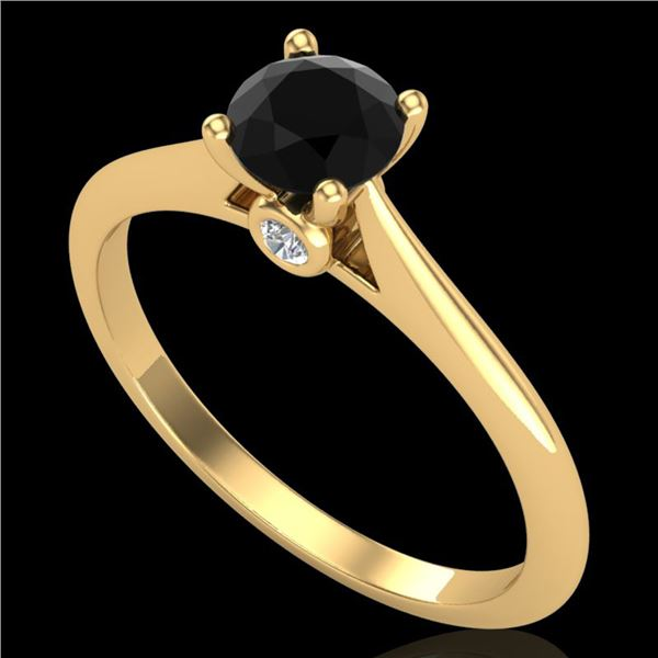 0.56 ctw Fancy Black Diamond Engagment Art Deco Ring 18k Yellow Gold - REF-30A2N