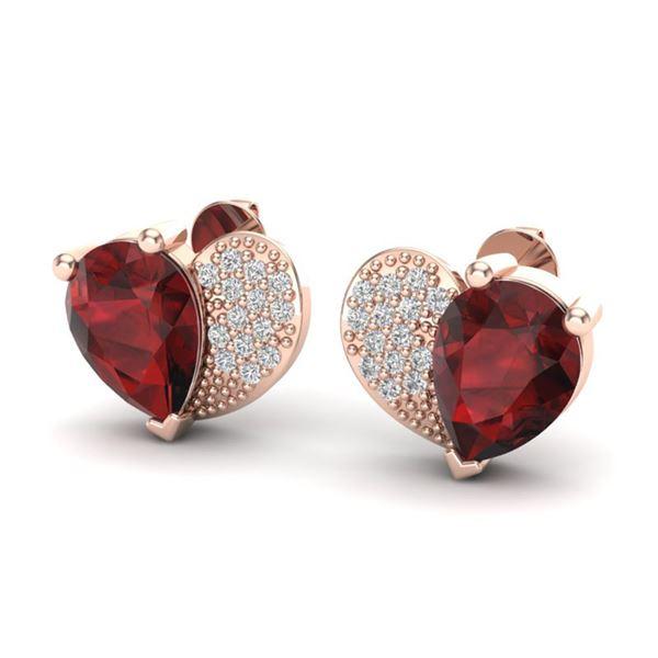 2.50 ctw Garnet & Micro Pave VS/SI Diamond Earrings 10k Rose Gold - REF-22F5M