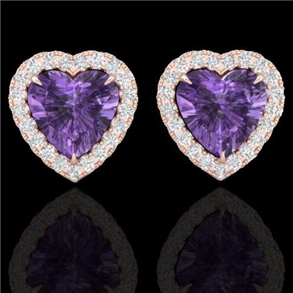 2 ctw Amethyst & Micro Pave VS/SI Diamond Earrings Heart 14k Rose Gold - REF-38H2R