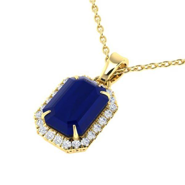 5.50 ctw Sapphire & Micro Pave VS/SI Diamond Necklace 18k Yellow Gold - REF-54G3W