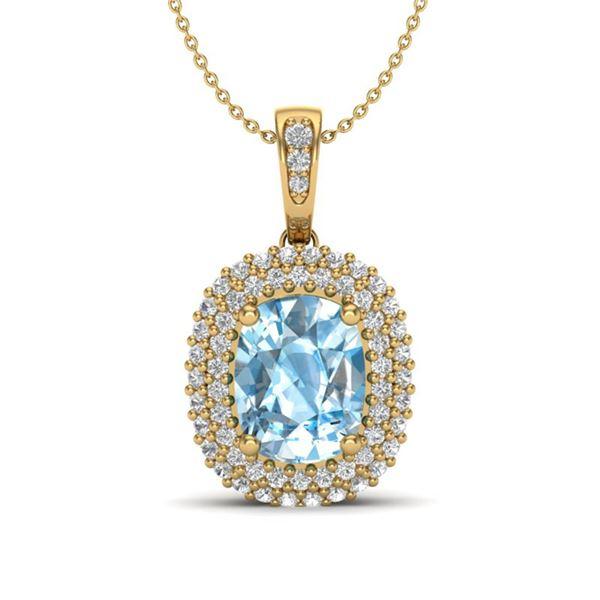 3 ctw Blue Topaz & Micro Pave VS/SI Diamond Necklace 10k Yellow Gold - REF-50W8H