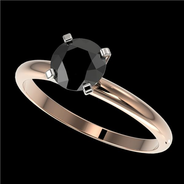 1 ctw Fancy Black Diamond Solitaire Engagment Ring 10k Rose Gold - REF-22K3Y