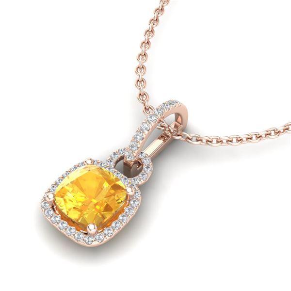 3.50 ctw Citrine & Micro VS/SI Diamond Necklace 14k Rose Gold - REF-40Y8X